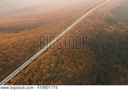 Aerial Drone Overhead Of Cars Driving Down Straight Road Through Leafless Forest Valley At Sunset. H