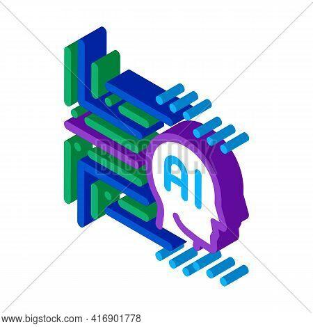 Artificial Intelligence Color Icon Vector. Isometric Artificial Intelligence Sign. Color Isolated Sy