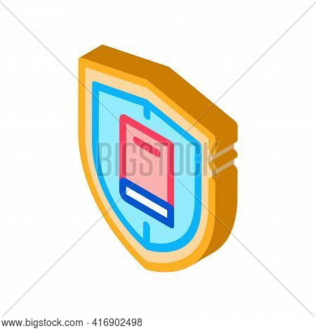 Shield Policy Color Icon Vector. Isometric Shield Policy Sign. Color Isolated Symbol Illustration
