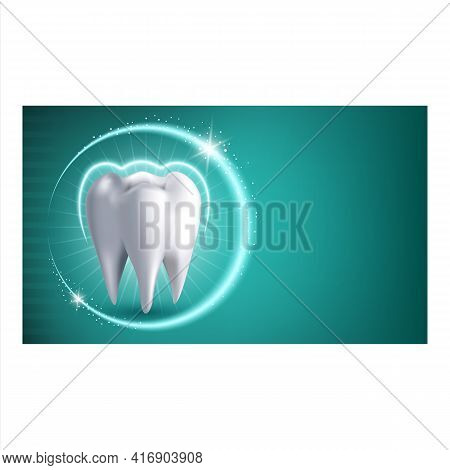 Teeth Whitening Treatment Promotion Banner Vector. Teeth Whitening Dentist Clinic Medical Operation