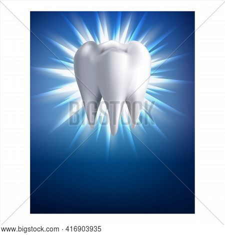 Teeth Whitening Procedure Promotion Poster Vector. Dental Clinic Enamel Teeth Whitening Service Adve