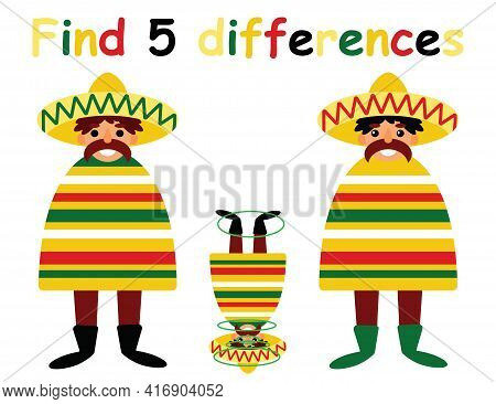 Find 5 Differences Cartoon Game For Kids Stock Vector Illustration. Happy Cinco De Mayo Activity Pag