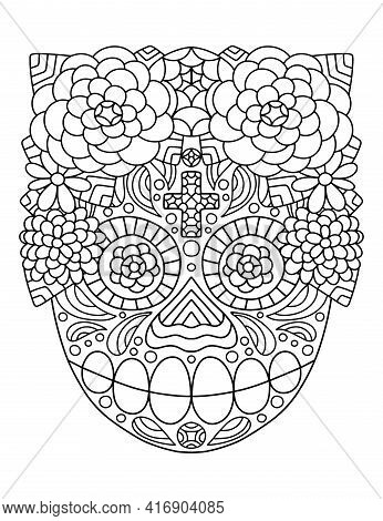 Traditional Mexican Skull With Flower Wreath Coloring Page Stock Vector Illustration. Hand-drawn Sku