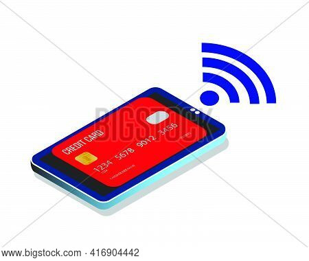 A Vector Of Credit Card Been Link To Smartphone For Cashless Payment Method