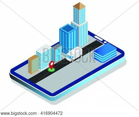 A Vector Of Isometric Delivery Parcel In Courier Service On Smartphone. Courier Service Must Be Effi