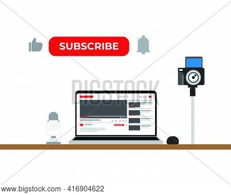 A Vector Of Content Creator With Equipment Insight.