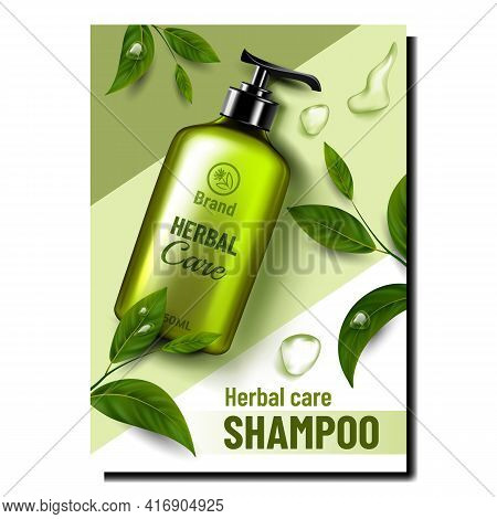 Herbal Care Cosmetic Promotional Poster Vector. Herbal Care Lotion Blank Bottle With Pump, Shampoo L