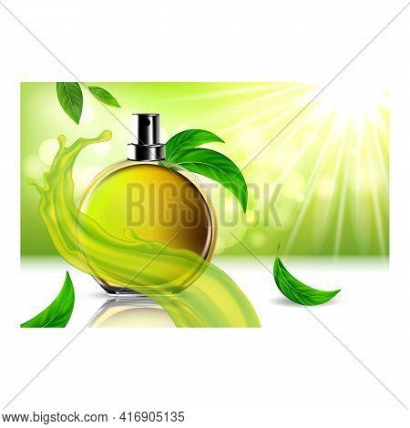 Perfume Aroma Creative Promotional Poster Vector. Green Tea Herbal Perfume Blank Bottle Spray, Aroma