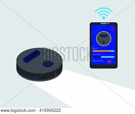 A Vector Of Smart Robotic Vacuum Cleaner With Smartphone As Remote Showing The Infographic. Smart Ro