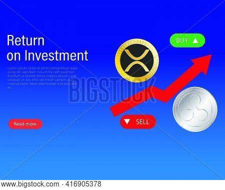 A Vector Of Ripple Coin Or Xrp With Graph Buy And Sell For Return On Investment Concept. Trading Bit