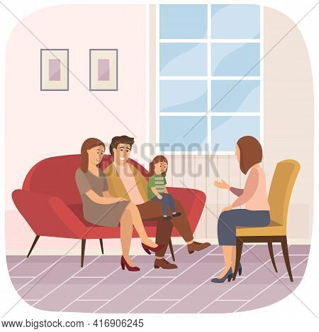 Conversation Between Family And Female Psychologist. Mom, Dad And Daughter Listening To Specialist