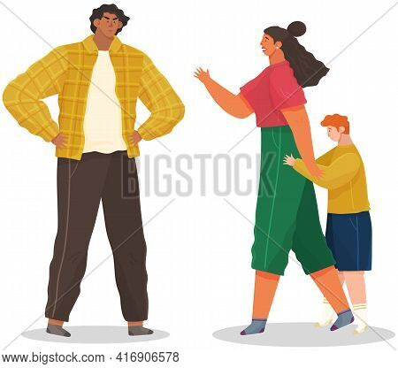 Problems And Conflict In Family, Fight And Arguing, Quarreling Over Child, Parenting Differences