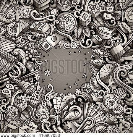 Cartoon Vector Doodles Japan Food Frame. Monochrome, Detailed, With Lots Of Objects Background. All