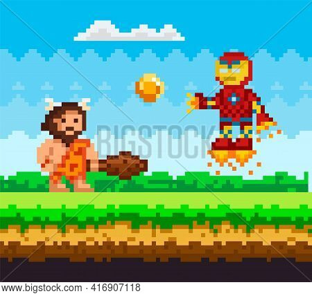 Primitive Man Attacks Flying Iron Robot In Jet Boots. Pixelated Natural Landscape With Caveman
