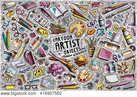 Cartoon Set Of Artist Theme Items, Objects And Symbols