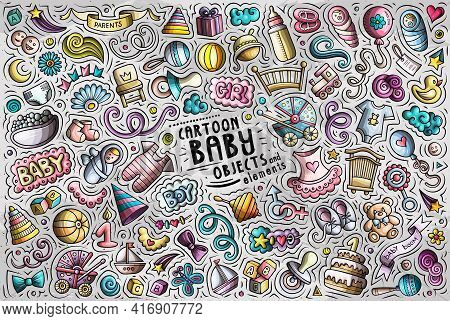 Colorful Vector Doodle Cartoon Set Of Baby Objects And Symbols