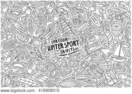 Vector Doodle Cartoon Set Of Water Sport Objects And Symbols