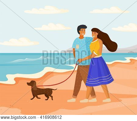 Couple In Relationship Walks By Handle On Sand Near Sea. Owners With Puppy Spending Time On Beach