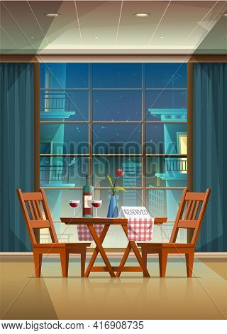 Vector Cartoon Style Illustration Of Romantic Evening Background In A Beautiful Restaurant With Coup