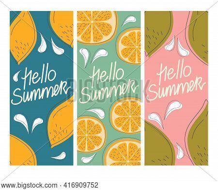 Vector Set Of Summer Greeting Cards, Banners, Cover Template Hello Summer Fruit. Orange, Lemon, Lime