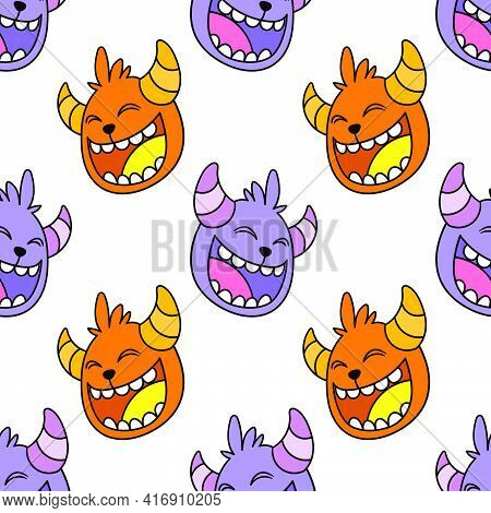 Laugh Humor Face Seamless Pattern Textile Print. Great For Summer Vintage Fabric, Scrapbooking, Wall