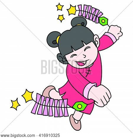 Chinese Girl Dancing Happily Carrying Firecrackers During The Chinese New Year, Doodle Draw Kawaii.