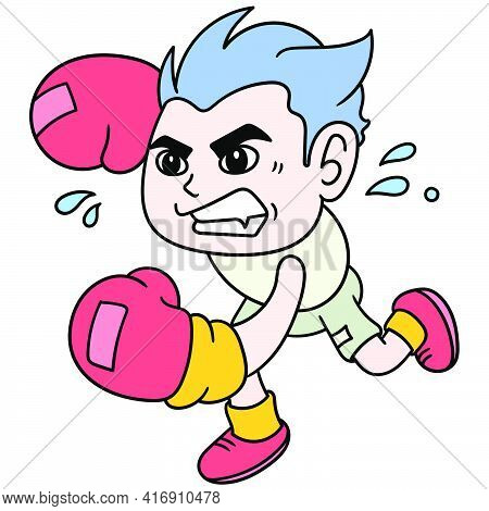 The Boxer Boy Angrily Launched A Punch, Doodle Draw Kawaii. Vector Illustration Art