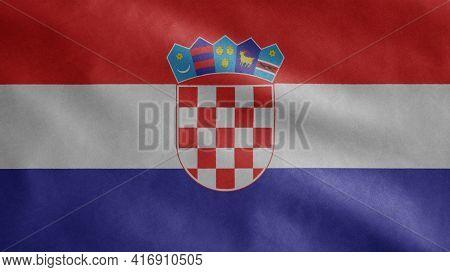 Croatian Flag Waving In The Wind. Close Up Of Croatia Banner Blowing Soft Silk.