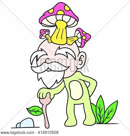 The Mushroom Headed Dwarf Grandpa Walked Over With A Friendly Face, Doodle Draw Kawaii. Vector Illus