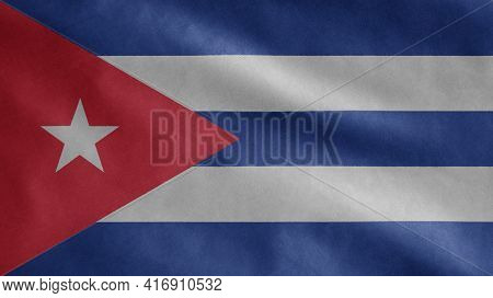 Cuban Flag Waving In The Wind. Close Up Of Cuba Banner Blowing Soft Silk.
