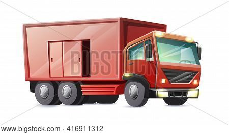 Vector Cartoon Style Red Cargo Lorry Truck Isolated On White Background.