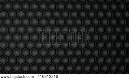Textured Geometric Hexagonal Background In Black Color. Hexagonal Cells. 3d Rendering Illustration