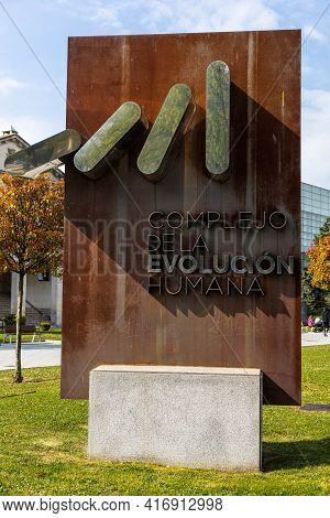 Burgos, Spain - April 9, 2021: View Of The Sign Of The Museum Of Human Evolution In Burgos In Spain