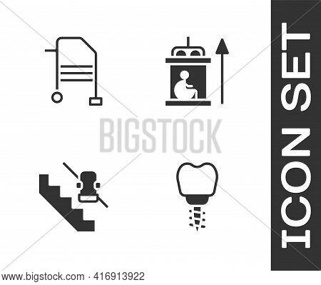 Set Dental Implant, Walker, Disabled Elevator And Elevator For Disabled Icon. Vector