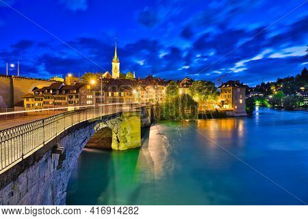 Scenic View Of Untertorbrucke Bridge In Bern Old Town With View Of Nydeggkirche Church. Capital Of S