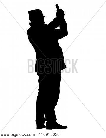 Photograph and photo camera on street. Isolated silhouettes of people on white background