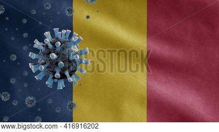 3D, Flu Coronavirus Floating Over Chadian Flag. Chad And Pandemic Covid 19
