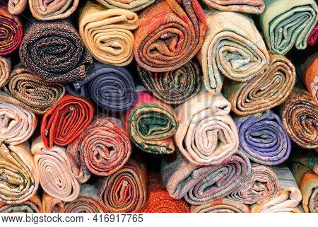 Rolls Of Cotton Fabrics For Sale In The Shop
