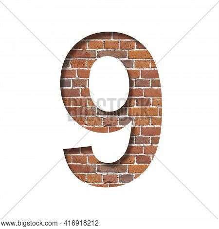 Font On Brick Texture. Digit Nine, 9, Cut Out Of Paper On A Background Of Real Brick Wall. Volumetri