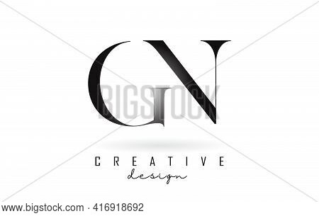 Gn G N Letter Design Logo Logotype Concept With Serif Font And Elegant Style. Vector Illustration Ic