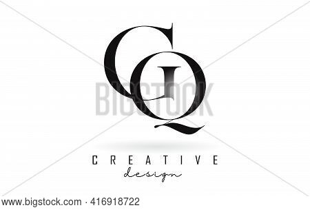 Gq G Q Letter Design Logo Logotype Concept With Serif Font And Elegant Style. Vector Illustration Ic