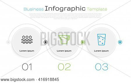 Set Line Waves Of Water And Evaporation, Jug Glass With And Glass. Business Infographic Template. Ve