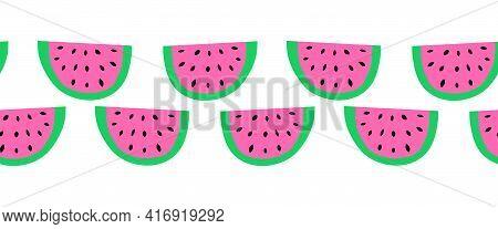 Watermelon Slice Seamless Vector Border. Watermelons Repeating Horizontal Background. Scandinavian S