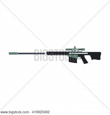 Sniper Rifle Gun Army Weapon Vector Illustration Military Firearm. Violence Trigger Sniper Rifle Ass