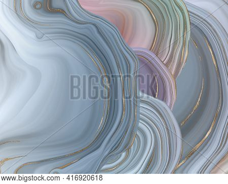 Beautiful Pastel Abstract Marble Agate With Golden Veins. Abstract Marbling Agate Texture And Shiny