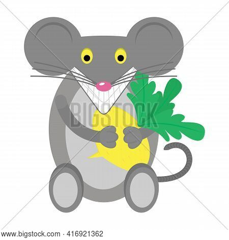 Cartoon Animal Mouse And Vegetable. Design Element For Packaging Food For Rodents, Mice Or Rats And