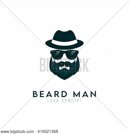 Beard Man With Glasses And Hat Logo Design Symbol Template Flat Style Vector Illustration