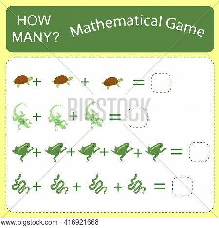 Educational Counting Math Game For Preschool Children On The Theme Of Reptiles. Count The Number Of