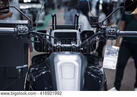 Bangkok, Thailand - April 4, 2021: View Of Harley Davidson Pan America Speedometer Exhibited In Bang