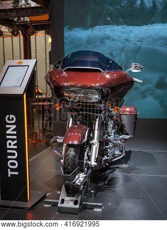 Bangkok, Thailand - April 4, 2021: Harley Davidson Touring Road Glide Exhibited In Bangkok Internati